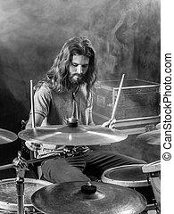 gioco, il, tamburi, palcoscenico