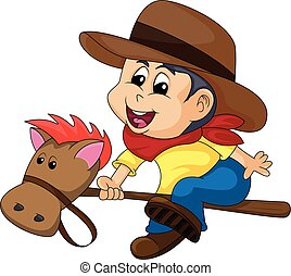 gioco, illustrazione, cowboy, cartone animato, cavallo, vettore, ragazzo, bastone