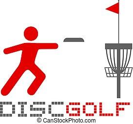 gioco, illustrazione, golf, disco