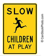 gioco, lento, -, segno, bambini, strada