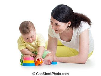 gioco, madre, tazza, bambino, insieme, giocattoli