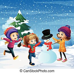 gioco, neve, bambini