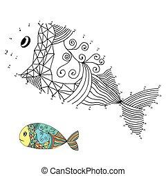 gioco, numeri, (fish)