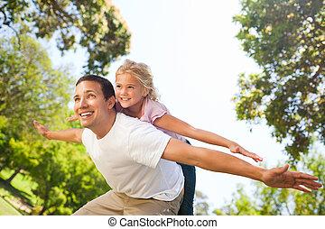 gioco, padre, suo, figlia