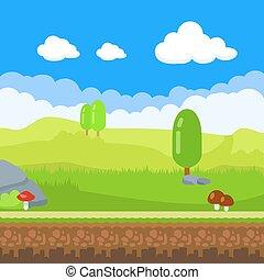 gioco, paesaggio, cartone animato, natura, fondo