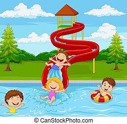 gioco, parco, bambini, acqua