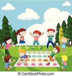 gioco, parco, gioco, bambini