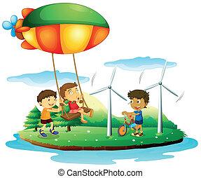 gioco, parco, tre bambini