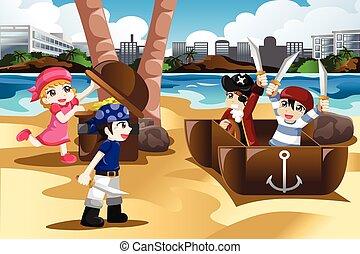 gioco, pirati, bambini
