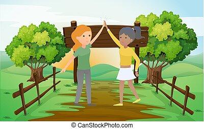 gioco, ragazze, giardino