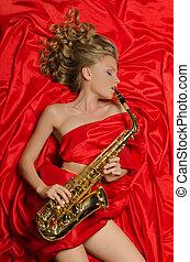 gioco, rosso, sassofono, donna