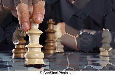 gioco scacchi esegue, uomo affari