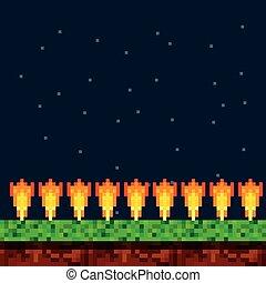 gioco, scena, fondo, pixelated