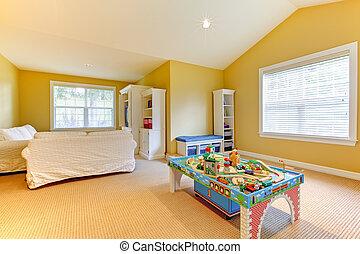 gioco, stanza capretti, giallo, beige, bianco, sofs, moquette