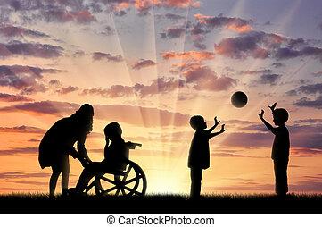 gioco, suo, carrozzella, madre, invalido, palla, pianto, bambino, bambini