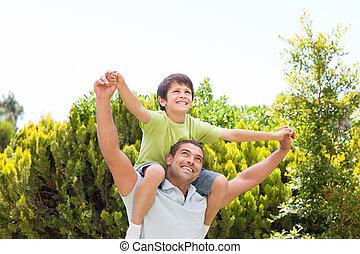 gioco, suo, padre, giardino, figlio