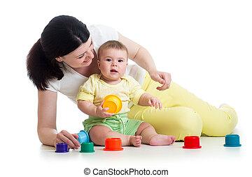 gioco, tazza, madre, insieme, giocattoli, ragazza bambino