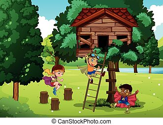 gioco, treehouse, bambini