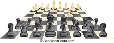 gioco, vettore, scacchi, illustrazione