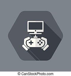 gioco, video, icona