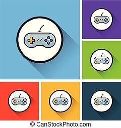 gioco, video, uggia, lungo, icone