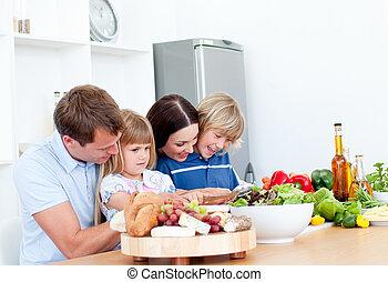 giocondo, giovane famiglia, cottura, insieme