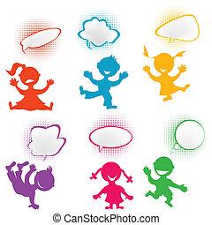 giocoso, bambini, silhouette