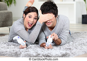 giocoso, coppia, con, giochi video