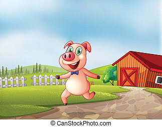 giocoso, granaio, indietro, maiale