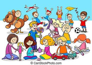 giocoso, gruppo, bambini, caratteri, cartone animato