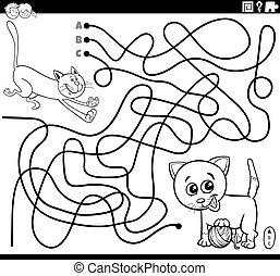 giocoso, labirinto, pagina, coloritura, gatti, libro
