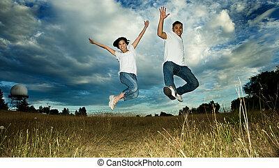 gioia, coppia, saltare, asiatico