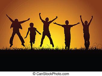 gioia, di, bambini