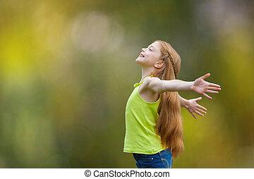gioia, fede, bambino, lodare, capretto, felicità