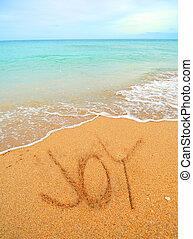 gioia, scritto, sabbia
