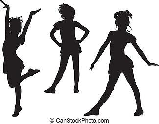 gioia, silhouette, bambini