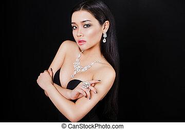 gioielleria, asiatico, giovane, proposta, bello