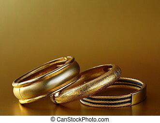 gioielleria, oro, braccialetti