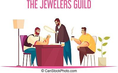 gioielliere, concetto, illustrazione