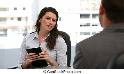 gioioso, donna d'affari, in, uno, riunione