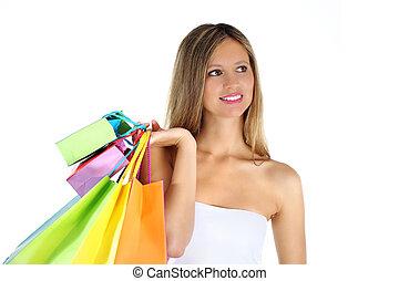 gioioso, donna, marche, shopping