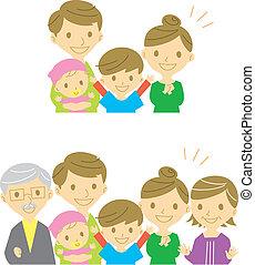 gioioso, famiglia, sorridente