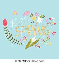 gioioso, primavera, floreale, composizione