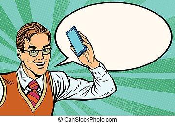 gioioso, uomo affari, con, smartphone, primo piano