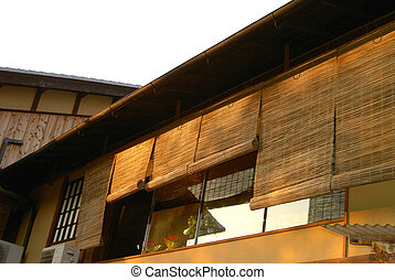 Gion architecture - A deail of a wooden house in Gion, ...