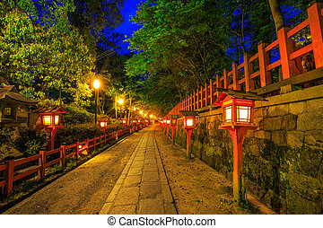 Gion Shrine by night - Illuminated path at night from the ...