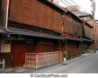 Gion street at the d - The writings were altered to loose ...