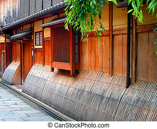 Gion wooden house - Detail image of a very specific wooden ...