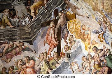 giorgio, frescoes, eltart, zuccari, alkotott, duomo, cupola...