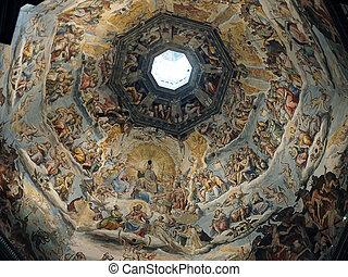 giorgio, frescoes, zuccari, alkotott, duomo, cupola:, oda...